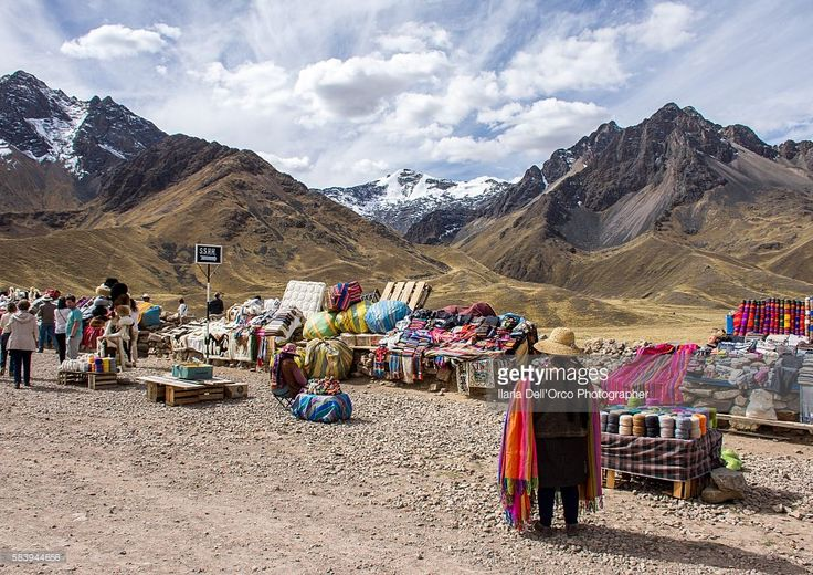 Market on the road, on the Cuzo-Puno regions' boundary in Peru