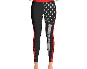 ca3089d985461 Thin Red Line Yoga Style Leggings / Firefighters / EMS / Protect and Serve  / Leggings / Yoga Pants / Womens Leggings / Red Lives Matter