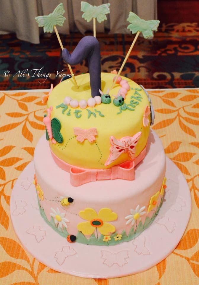 Cartoon Cakes - 2 Tier Pink and Yellow Cake | For two little #caterpillars who will soon turn into pretty little #butterflies #butterfly #flowers #flower #bow #cute #littleones #firstbirthday #cake #cakeboard #cakedesign #gardentheme #honeybee #ladybird #grass #customisedcake #atyummy #sunflower #blossoms #hydrangea #edibleflower