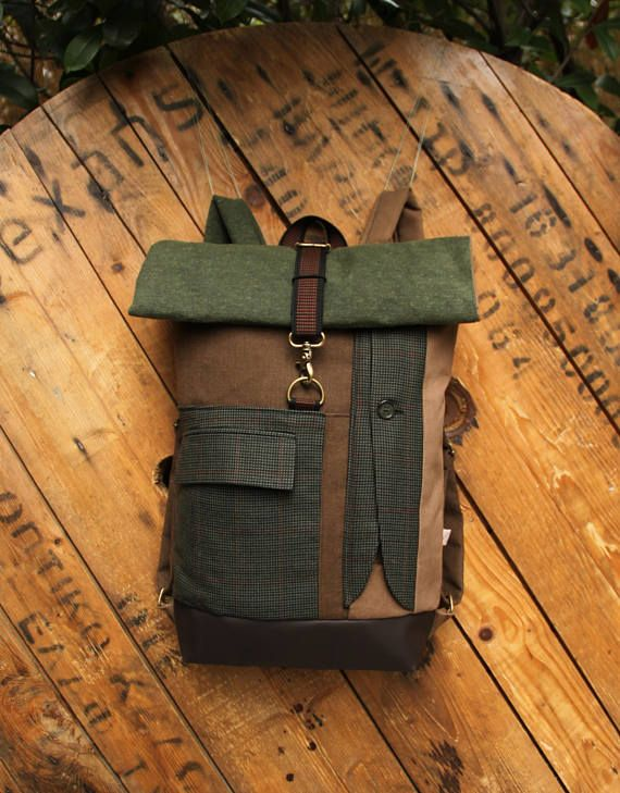 New:Olive green and beige upcycled roll top rucksack using
