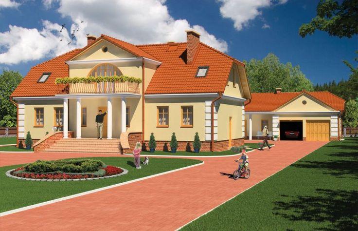 DM-6474 to dom parterowy z poddaszem mieszkalnym, bez podpiwniczenia. Projekt zawiera wolnostojący budynek gospodarczy oraz garaż z dwoma stanowiskami. Jest to reprezentacyjna i elegancka rezydencja w klasycznym stylu dla wieloosobowej rodziny.