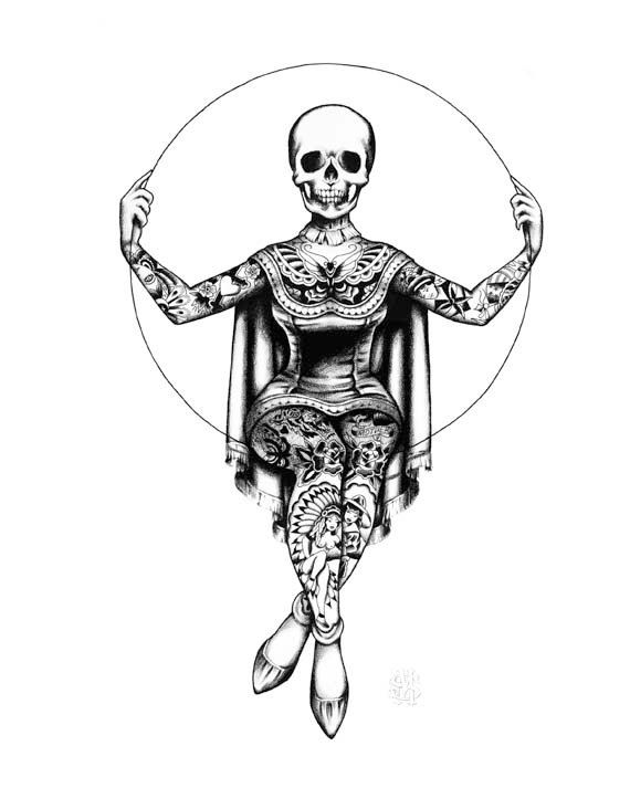 Momento Mori Victorian Tattooed Skeleton Lady by MissMartinTattoos, $25.00