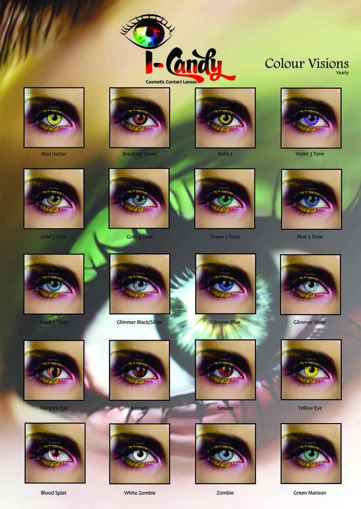 Colour Vision Eye Accessories give you an excellent core range of eye accessories. This range includes natural colour eye accessories, Halloween designs, costume eye accessories, movie eye accessories and fantasy colour eye accessories.
