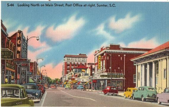 Linen Postcard Sumter South Carolina Looking North On Main Etsy Sumter North Carolina Beaches Main Street