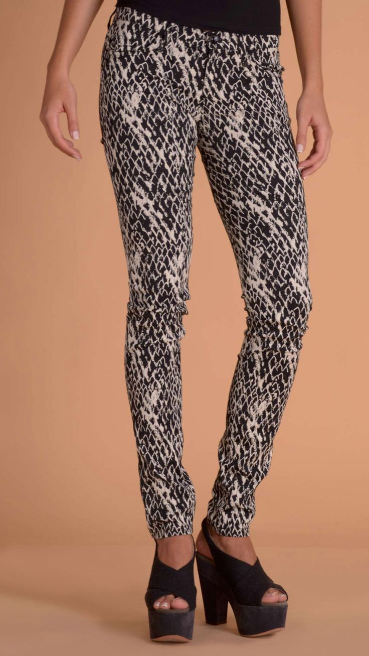Plein Sud Jeanius Black and white animal print skinny trousers.