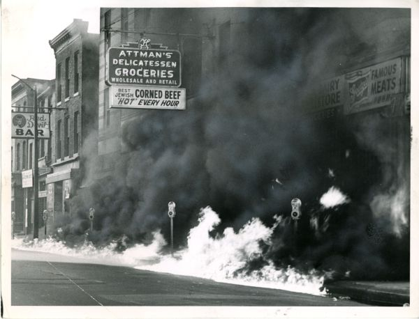 Lombard Street during 1968 Baltimore riots