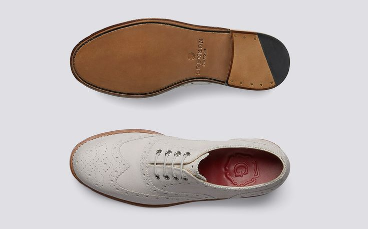 Rose | Womens Oxford Brogue in White Burnished Suede on Leather Sole | Grenson Shoes - Top and Sole View
