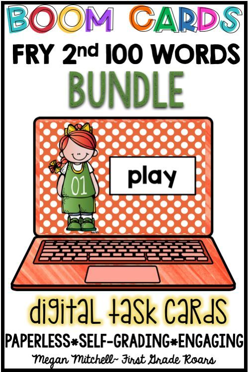 """These fun DIGITAL task cards called """"Boom Cards"""" will have your students begging for more. These cards are played on the BOOM LEARNING platform. They are interactive cards that build FLUENCY OF SIGHT WORDS USING THE FRY WORD LIST. You will receive a link to 4 sets of 25 digital task cards. This set contains words 101-200 in the 2nd FRY 100 word list. Students will look at the word, read it, then click next."""