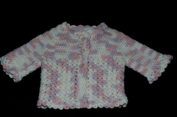 Newborn sweater (crochet) on Etsy, $25.00 CAD