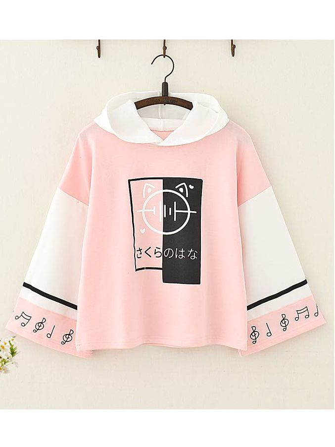 Musical Note Printed Color Block Hoodie✨?✨   which color would you prefer,blue or pink??   If you like, you can click on our website.?  ?Shop at bio link! Product ID: MK0957