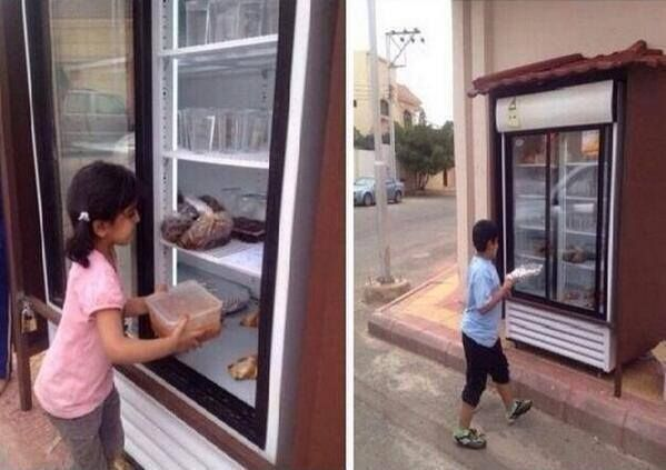 "FAITH IN MANKIND, TEMPORARILY RESTORED! An anonymous man in Saudi Arabia installed a giant refrigerator in front of his house. He and his neighbours leave their leftovers in it daily, providing free food for the less fortunate children in his town. He wants to spare them the ""shame"" of begging, and provide them with proper meals instead. How much do we like this guy?!"