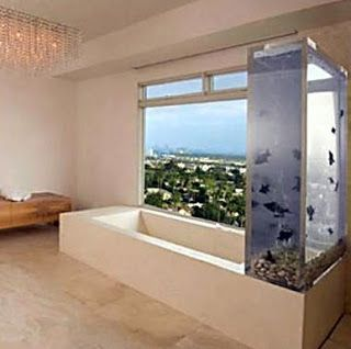 Rapper Kanye Wests Bathroom Is A Minimal With A Slight Twist Of Glamour And Aqualife He Can Take A Bath While Watching Fish Or Enjoying The View Outside