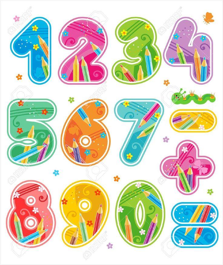 Números decorados, coloridos, con signos aritméticos. 0 1 2 3 4 5 6 7 8 9 + = -