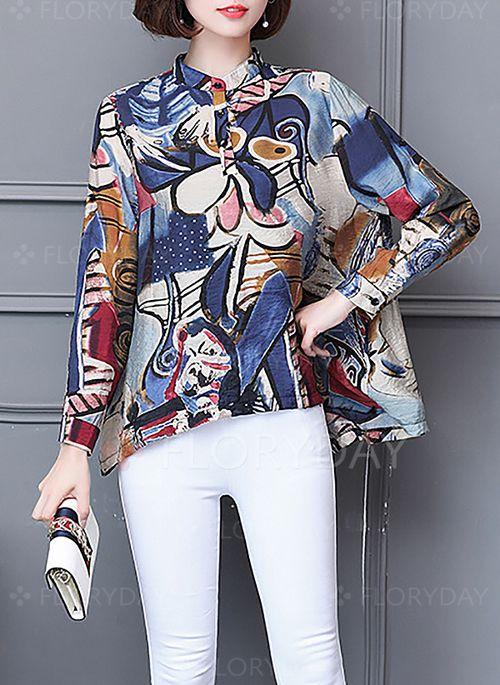 Skjorter - $31.64 - Geometrisk Vintage Chiffong Høy hals Langermet Skjorter (1645192741)