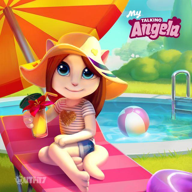 RELAX & ENJOY! xo, Talking Angela #TalkingAngela #MyTalkingAngela #LittleKitties #summer #outfit #heart #cute #summervibes # app #best #game #happy #outfit #relax #enjoy #gold #party #pool