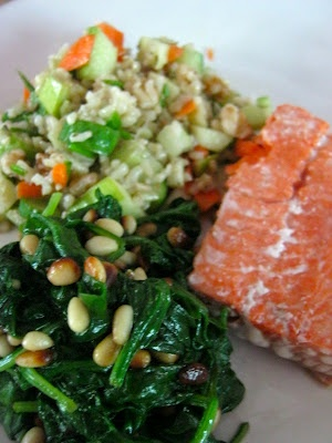 Lyme-friendly Dinner Menu with recipes ~ With a Twist of Lyme blog ~ Phase 1 Friendly Rice Salad, Grilled Salmon, Sauteed Spinach with Garlic and Pine Nuts ~ Delish!
