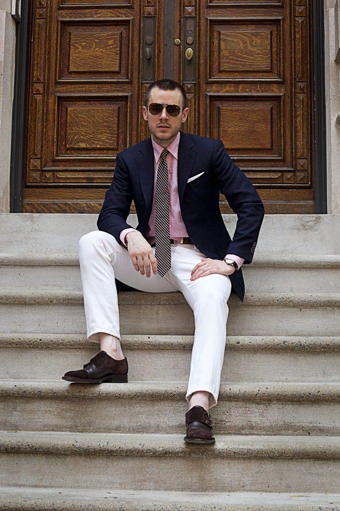 White Pants Pink Shirt Blue Blazer Striped Tie Got It Men Fashion Style Upgrade Him