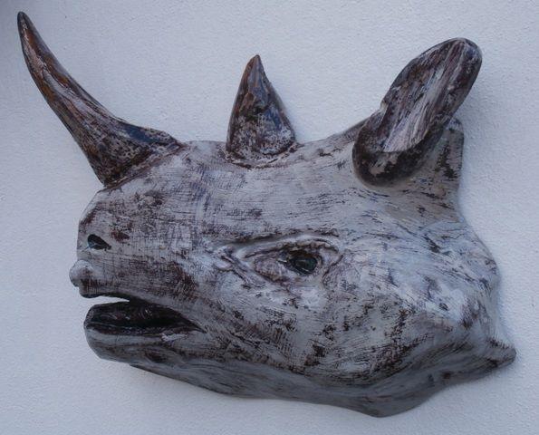 Driftwood Sculpture of Rhino Head, by Driftwood Art, Skiathos