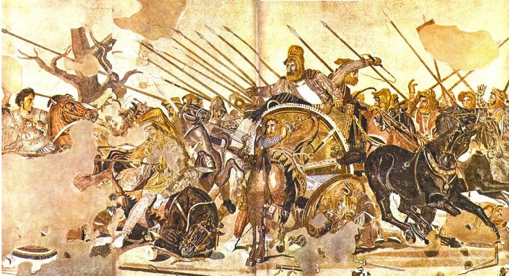 The Alexander Mosaic, dating from circa 100 BC, is a famous Roman floor mosaic originally from the House of the Faun in Pompeii.  The mosaic, perhaps the most famous in the ancient world, shows the Macedonian warlord leading the decisive charge against Emperor Darius III of Achaemenid dynasty at the Battle of Gaugamela in 331 BC
