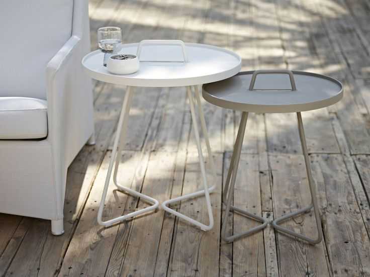 On The Move - Tray Table - White + Taupe
