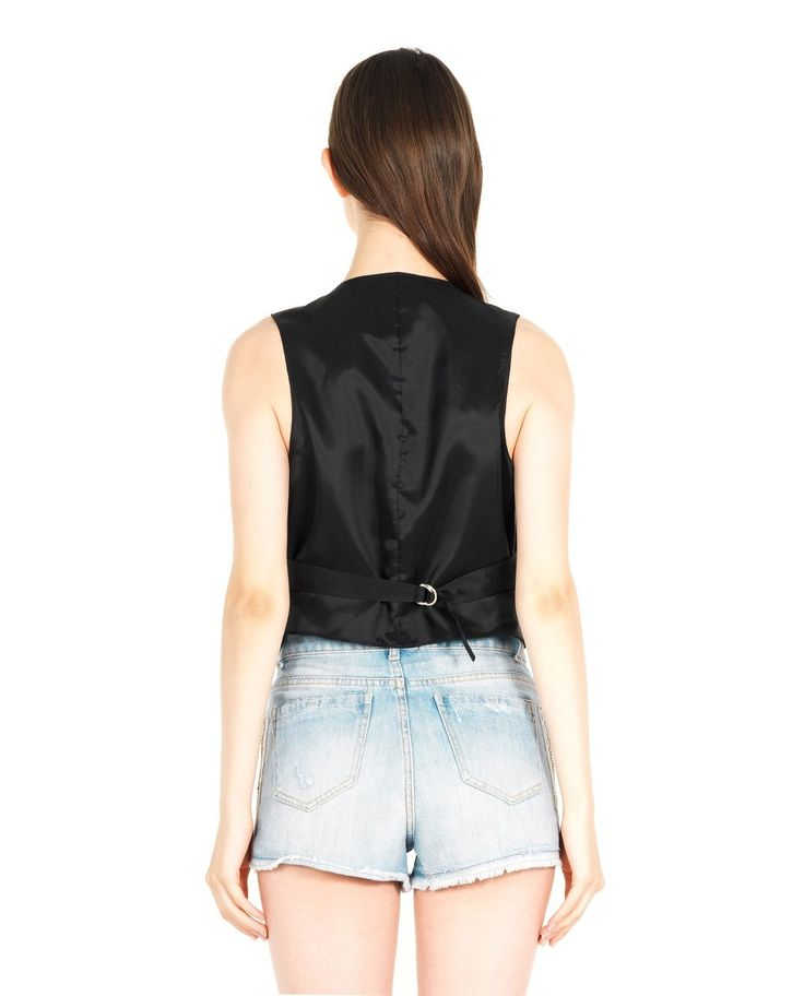 AMEN EMBROIDERED LEATHER WAISTCOAT S/S 2016 Leather jacket with rhinestone embroidery  deep neckline relief seams back buckle front button closure 100% Leather Lining: 60% AC 40% VI