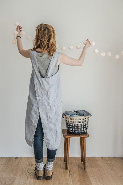 Schorten - Linen silver square cross apron - Japanese apron - Een uniek product van notPERFECTLINEN op DaWanda