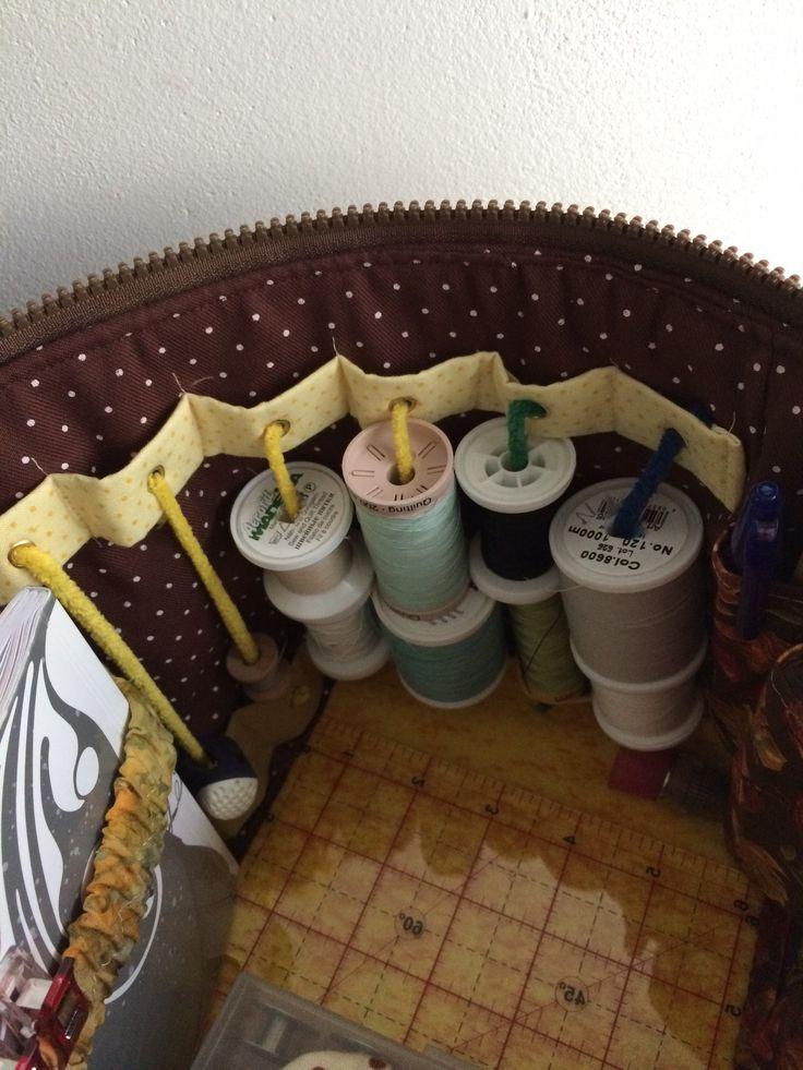 Costurero. Vista del interior.Detalle del sistema de fijación de las bobinas de hilo con varillas limpia pipas sujetas a cintas con ojales metálicos.