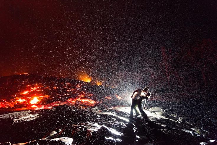 hottest kiss ever kiss dip in front of volcano