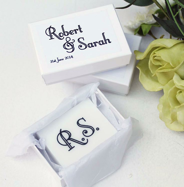 £3.95 each  These unusual personalised soaps make unique wedding favours, a special keepsake for your guests on this special day.   The soaps are made by us from pure natural handmade soap, perfumed with your choice of scent and each peice of soap is wrapped in tissue and placed inside the white lidded box.   An unusual wedding favour, printed with the bride and grooms initials, packed in a luxury box with names and date printed on the lid.