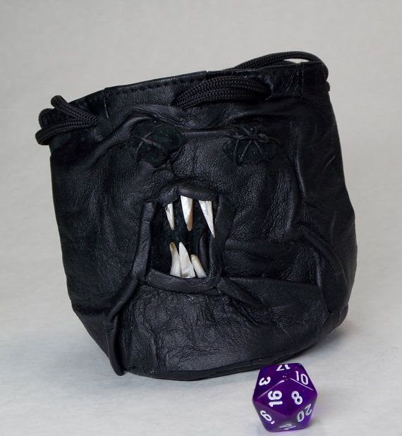 RPG LARP Necronomicon Dice Marble Card Bag Fairy Pouch With Face Dragon Eyes Drawstring Leather