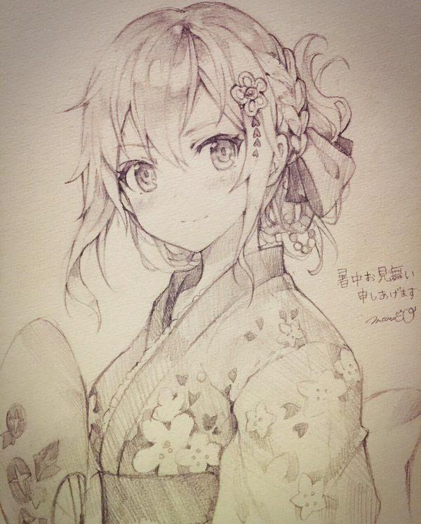 Pretty Girl In Kimono Drawing Sketch