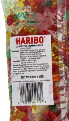 Haribo Gummy Candy, Sugarless Gummy Bears, 5-Pound Bag:Amazon:  BEST REVIEWS EVER! Lol!!!