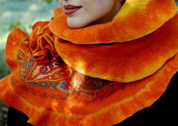 """Валяный шарф из коллекции """"Осенняя пора"""""""