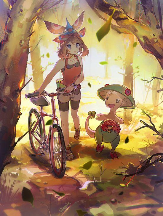 Tags: Anime, Namie-kun, Pokémon, Masquerain, Haruka (Pokémon), Breloom, Bicycle