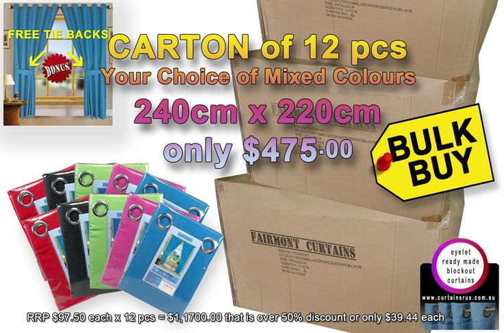More products being entered on the website  Bulk Deal - Fairm... take a moment to check them out http://www.curtainsrus.com.au/products/bulk-deal-fairmont-curtains-your-choice-of-mixed-colours-240cm-x-220cm?utm_campaign=social_autopilot&utm_source=pin&utm_medium=pin