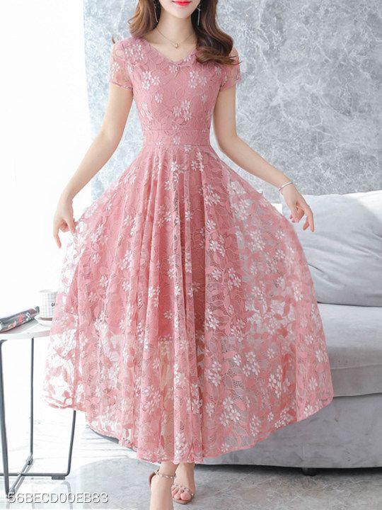 22d2824998b1 V Neck Floral Printed Lace Maxi Dress - berrylook.com | Dresses part ...
