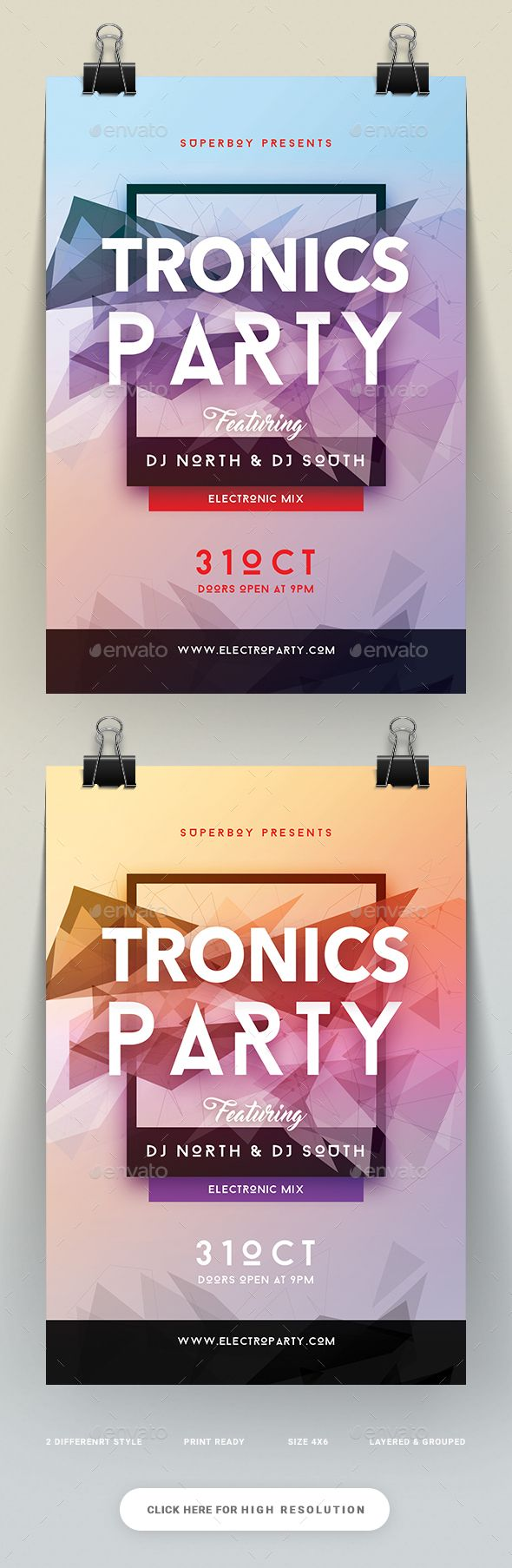 Tronics Party Flyer  — PSD Template #bar #cool flyers • Download ➝ https://graphicriver.net/item/tronics-party-flyer/18048321?ref=pxcr