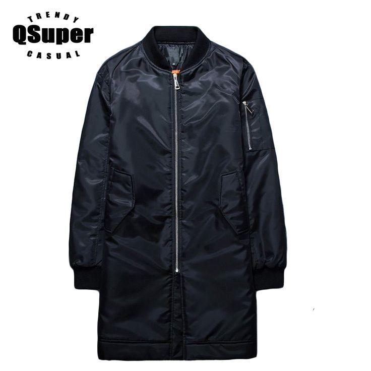 QSuper Winter Long Bomber Jacket Men Windproof Slim Fit Cotton Liner Warm Casual Jacket Coat Men Designer Jacket #Affiliate