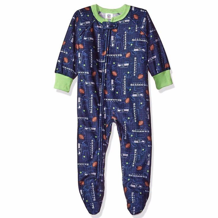 Gerber NFL Seattle Seahawks Infant Baby Navy Blanket Sleeper Footed Pajamas #Gerber #SeattleSeahawks