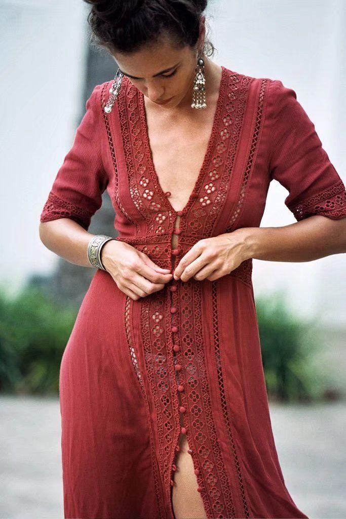 866597c93d287 Tessa Floral Lace V-neck Dress in 2019 | LADIES TULUMINATI VIBES ...