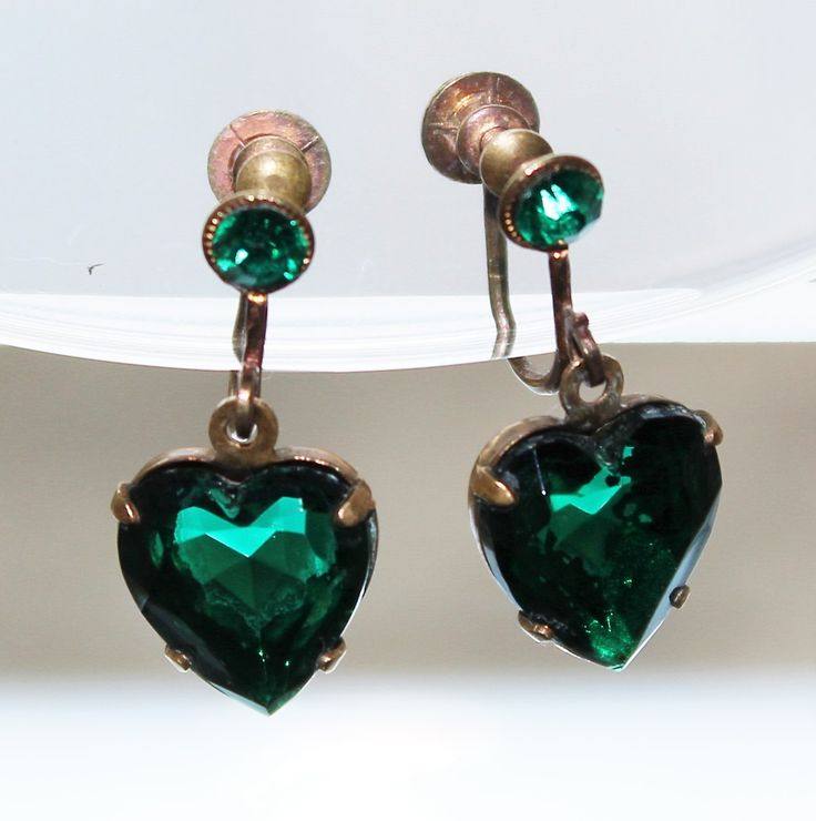 Art Deco Sparkly Green Dangly Boho Hearts Drop Dangle Screw Back Earrings (c1930s) by GillardAndMay on Etsy