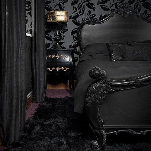 black black blackIdeas, Dreams, All Black, Black Room, Gothic Bedroom, Interiors Design, Beds Frames, Black Decor, Black Bedrooms