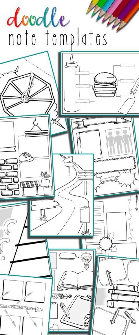 editable doodle note templates bundle learning pinterest notes