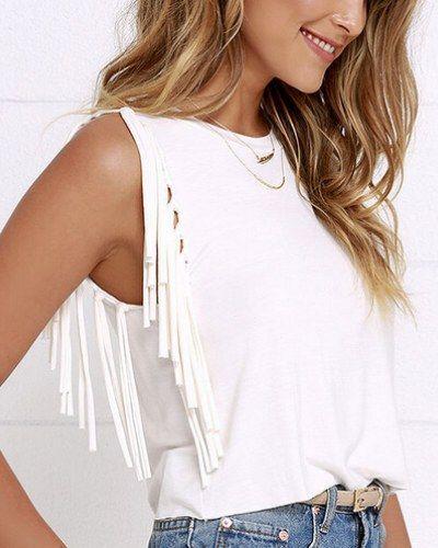 Chic fringe tank top for women plain short t shirts sleeveless design