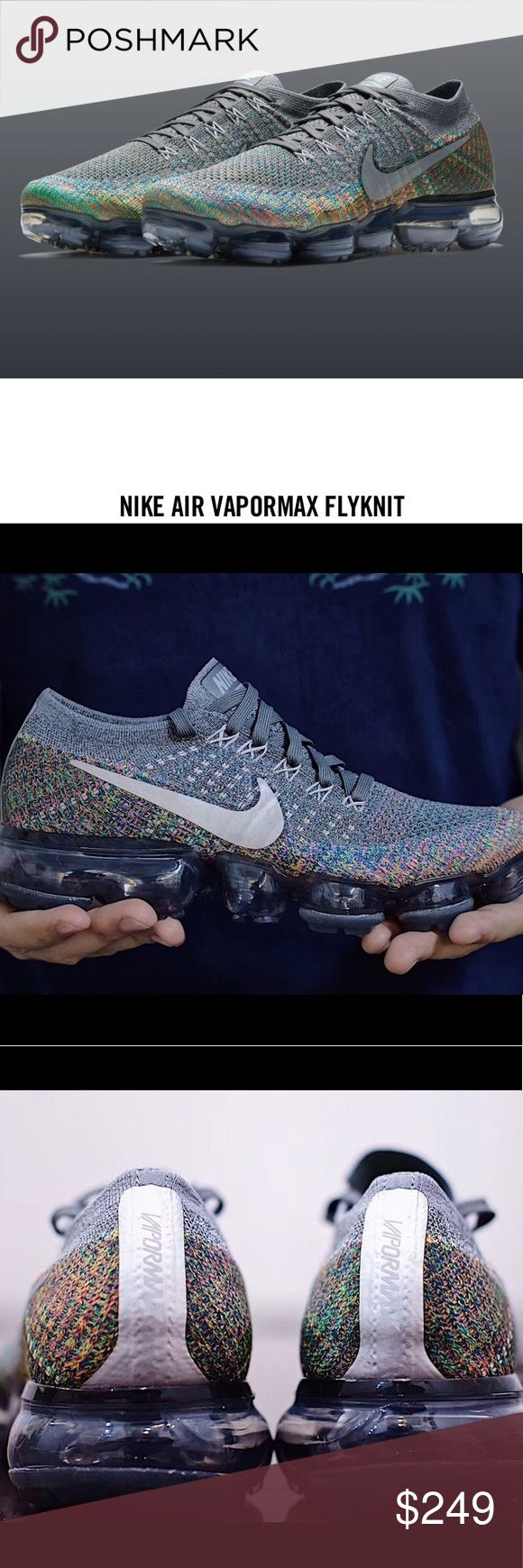 """PRE-RELEASE🆕Vapormax """"Kaleidoscope""""Sz 12, W/Rcpt! Be the FIRST ONE TO HAVE THESE! They are shipped with authenticity documents from Nike. Won't be released publicly for a few weeks, and the MultiColor design is amazing, as well as the """"reflective silver"""" on the rear label. This shoe features a grey Flyknit upper and the striking rainbow accents is seen on the lower half for a unique two-tone look. Reflective white/silver swooshes on the sides and a clear translucent VaporMax sole completes…"""