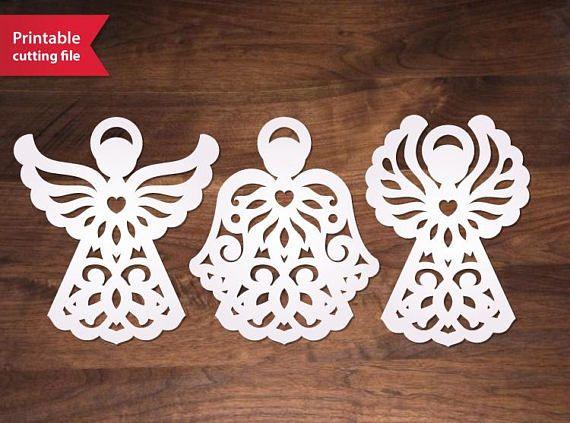 Paper Cut Angels Set. Diy printable vector file decoration
