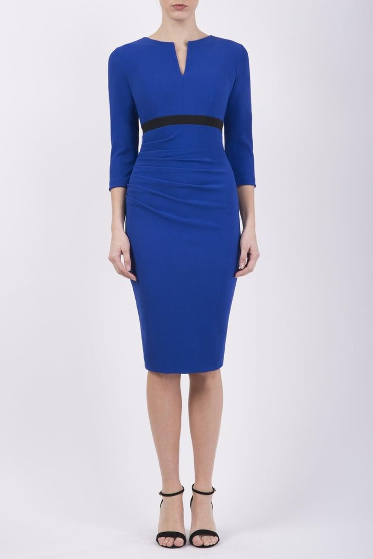 Diva Catwalk Nadia 446001 Cobalt This body-con style dress is so smart and easy to wear. It's no surprise BBC weather girls like Carol Kirkwood and TV presenters Susanna Reid are such fans of this British dress designer. This style is perfect for work with its long sleeves to cover your arms and neat styling with the black band detail. Very flattering. Simply wash, hang and doesn't need ironing. If you work away, this dress is a must-have. Won't crease and packs so easily into your suitcase…