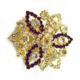 Gold Tone Plum CZ Floral Design Pin Broach/Brooch Dress Accessory Jewelry