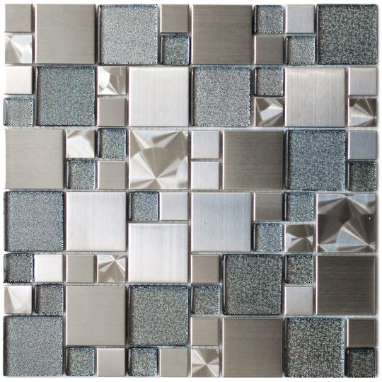 Stainless Steel Tile-Modern Cobble Stainless Steel With Silver Glass Tile