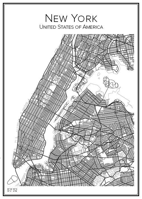 New York. USA. Karta. City print. Print. Affisch. Tavla. Tryck.
